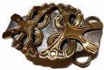 Gold & Silver Plated Celtic Design Belt Buckle with display stand. Code LM3